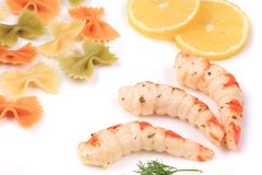 Shrimp with sauce and pasta. royalty free stock photo