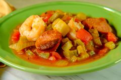 Shrimp Sausage Gumbo. Spicy New Orleans shrimp and andouille sausage Gumbo stock image