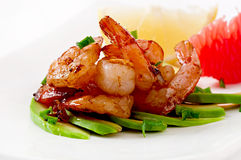 Shrimp sauteed with garlic and soy sauce Stock Photo