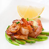 Shrimp sauteed with garlic and soy sauce Royalty Free Stock Photo