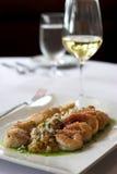 Shrimp and scallops Stock Photos