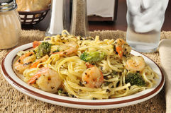Shrimp scampi with broccoli Stock Images