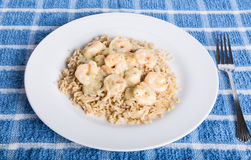 Shrimp Scampi on Brown Rice with Fork Stock Image