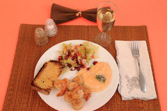 Shrimp Scampi with Cheese Grits Royalty Free Stock Images