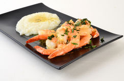 Shrimp Scampi with Garlc Grits Royalty Free Stock Photography