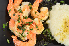 Shrimp Scampi with Grits Stock Photos