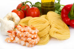Shrimp Scampi Ingredients Stock Photo