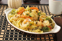 Shrimp scampi and linguini Royalty Free Stock Image