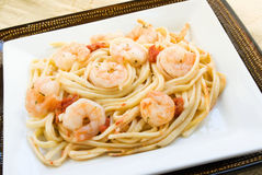 Shrimp Scampi with Linguini Pasta Noodles Royalty Free Stock Photography