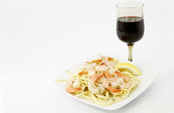 Shrimp Scampi Over Olive Oil Tossed Spaghetti Royalty Free Stock Photo