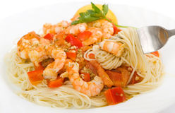 Shrimp Scampi Pasta Dish. A healthy dish of shrimp scampi pasta Stock Images