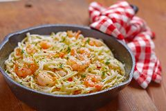 Shrimp Scampi. Pasta with Shrimp Scampi in a pan Royalty Free Stock Photos