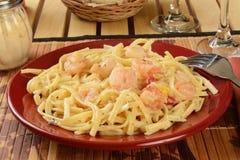 Shrimp scampi. A plate of shrimp scampi on linguine close up Royalty Free Stock Photo
