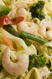 Shrimp scampi primavera. With linguine broccoli vegetables Royalty Free Stock Photos