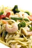 Shrimp scampi primavera. With linguine broccoli vegetables Stock Photos