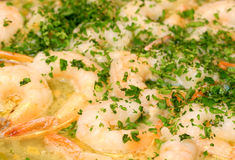 Shrimp Scampi Simmering Stock Photo