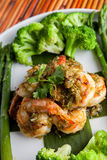 Shrimp Scampi with Vegetables Stock Photography