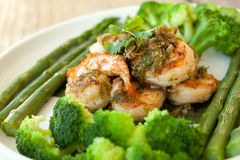 Shrimp Scampi with Veggies Royalty Free Stock Image