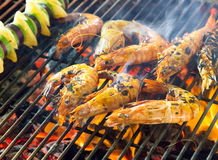 Shrimp seafood in BBQ Flames Royalty Free Stock Image