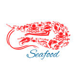 Seafood poster or symbol in shape of shrimp. Shrimp seafood poster. Vector symbol of sea and ocean fish food crab lobster, flounder, tuna and herring, salmon or Stock Photography