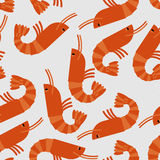 Shrimp seamless pattern. Sea delicacy  background. Texture Royalty Free Stock Photos