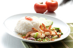 Shrimp serve with rice Royalty Free Stock Images