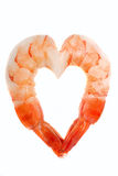Shrimp in the shape of a heart Stock Photos