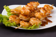 Shrimp shashlik isolated on lack background Royalty Free Stock Photo