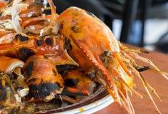 Shrimp shell on dish Stock Images