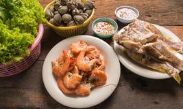 Shrimp shellfish fish. Sea food Stock Photos