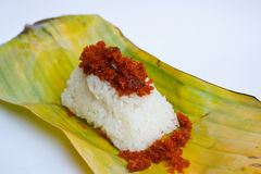 Shrimp and shred coconut on sticky rice. Royalty Free Stock Photo
