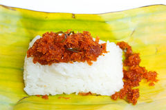 Shrimp and shred coconut on sticky rice. Stock Images