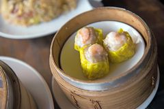 Shrimp Shumai,steamed dish,Chinese food on plate,Dimsum Royalty Free Stock Photo