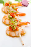 Shrimp skewer with peppers Stock Photography