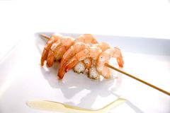 Shrimp skewers Stock Photos