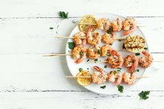 Shrimp Skewers Royalty Free Stock Photo