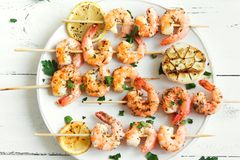 Shrimp Skewers Stock Image