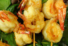 Shrimp Skewers Stock Photos