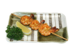 Shrimp skewers Stock Photo