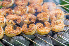 Shrimp skewers Royalty Free Stock Photos