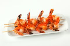 Shrimp skewers with sweet garlic chili sauce stock photos