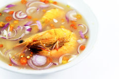 Shrimp soup. With lemon pepper, onion Stock Photos