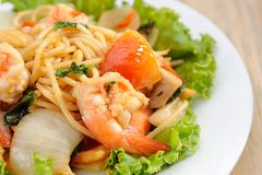 Shrimp spaghetti Stock Images