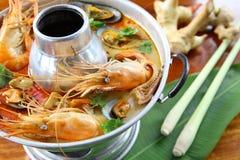 Shrimp spicy Soup Stock Photo