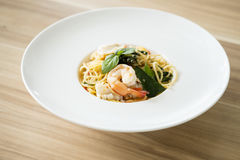 Shrimp spicy spaghetti royalty free stock photos