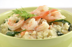 Shrimp and Spinach Risotto Stock Photography