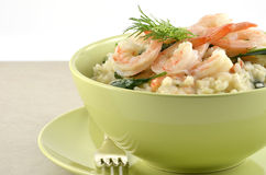 Shrimp and Spinach Risotto Royalty Free Stock Photography