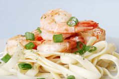Shrimp With Spring Onions And Noodles Stock Photography