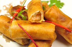 Shrimp spring rolls. Chinese snack food stock images
