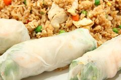 Shrimp Spring Rolls and Chicken Fried Rice Stock Photography